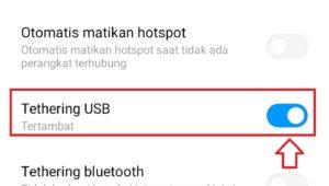 Tanda on/off Tethering USB