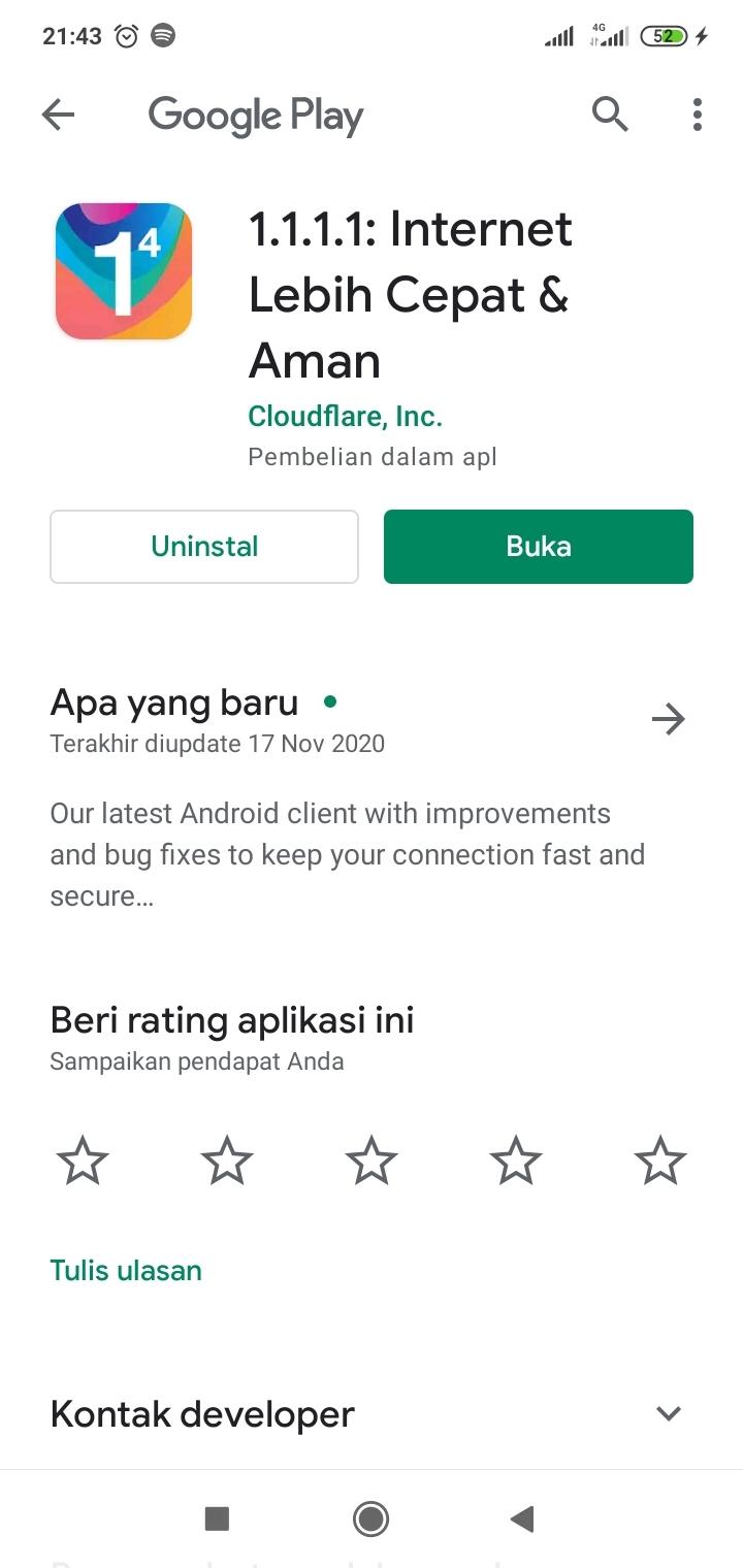 Tampilan Aplikasi 1.1.1.1 di PlayStore