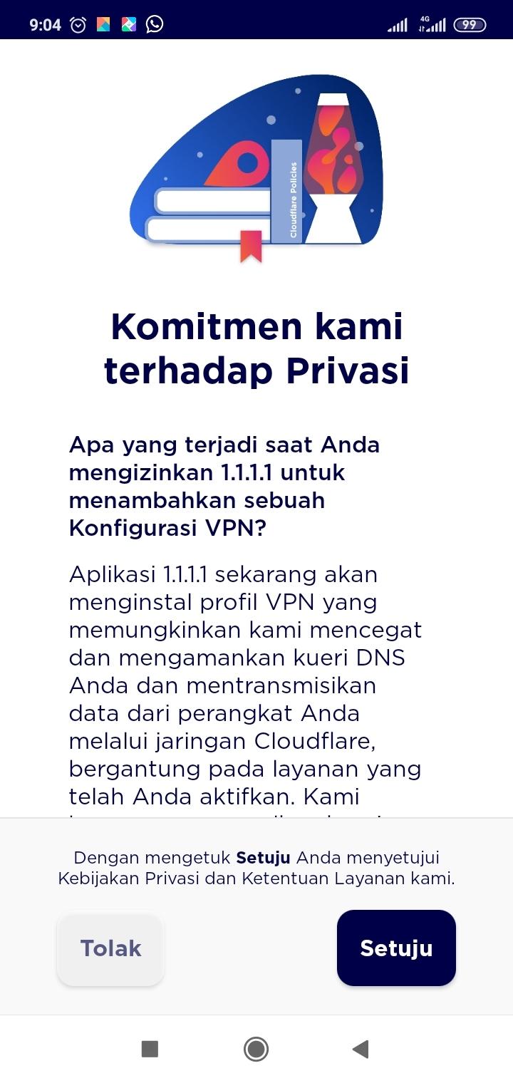 Tampilan Aplikasi 1.1.1.1 tentang Persetujuan Privasi